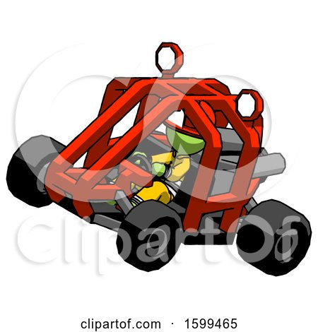Green Firefighter Fireman Man Riding Sports Buggy Side Top Angle View by Leo Blanchette