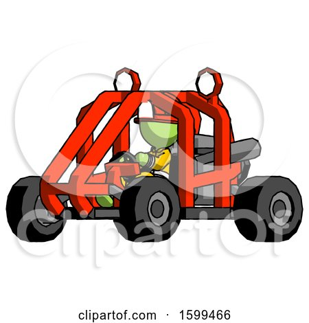 Green Firefighter Fireman Man Riding Sports Buggy Side Angle View by Leo Blanchette