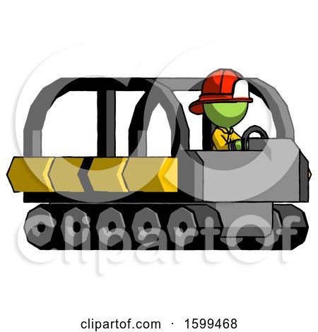 Green Firefighter Fireman Man Driving Amphibious Tracked Vehicle Side Angle View by Leo Blanchette