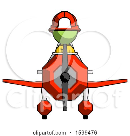 Green Firefighter Fireman Man in Geebee Stunt Plane Front View by Leo Blanchette