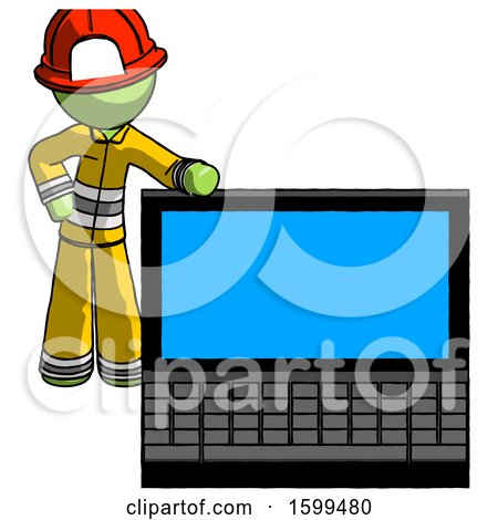 Green Firefighter Fireman Man Beside Large Laptop Computer, Leaning Against It by Leo Blanchette