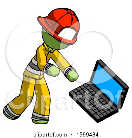 Green Firefighter Fireman Man Throwing Laptop Computer in Frustration by Leo Blanchette