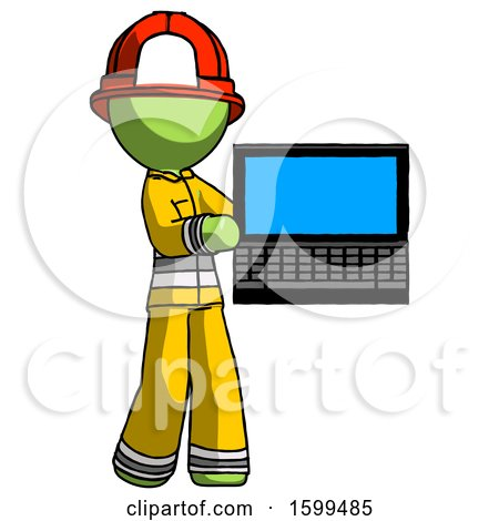 Green Firefighter Fireman Man Holding Laptop Computer Presenting Something on Screen by Leo Blanchette