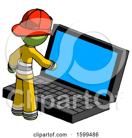 Green Firefighter Fireman Man Using Large Laptop Computer by Leo Blanchette