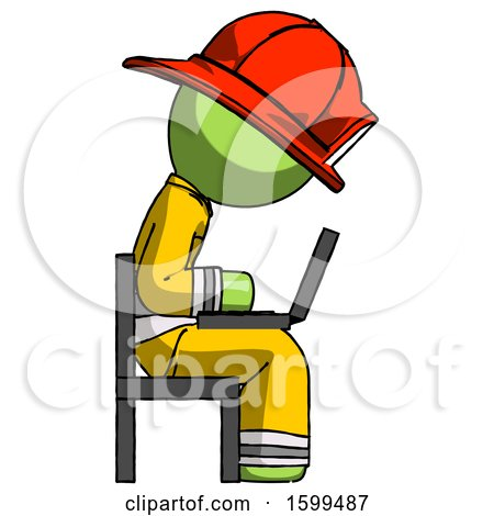 Green Firefighter Fireman Man Using Laptop Computer While Sitting in Chair View from Side by Leo Blanchette