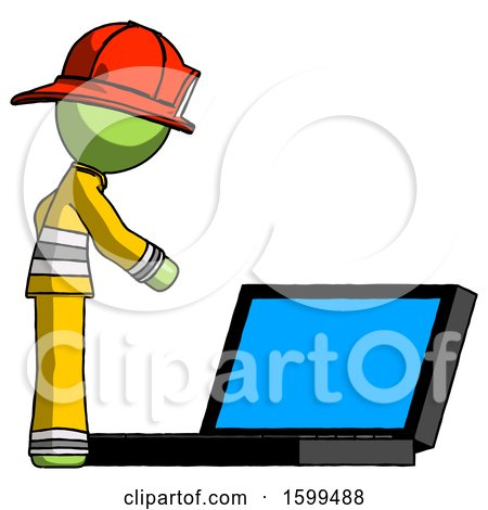 Green Firefighter Fireman Man Using Large Laptop Computer Side Orthographic View by Leo Blanchette