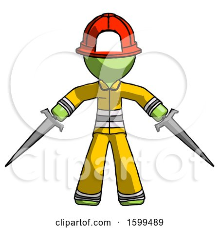 Green Firefighter Fireman Man Two Sword Defense Pose by Leo Blanchette