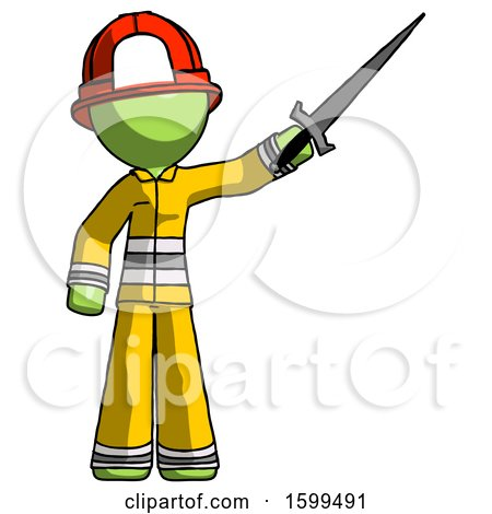 Green Firefighter Fireman Man Holding Sword in the Air Victoriously by Leo Blanchette