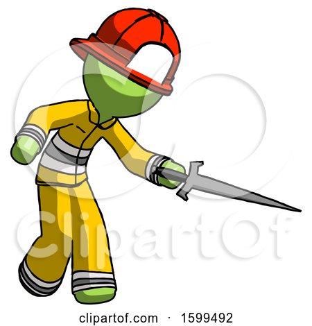 Green Firefighter Fireman Man Sword Pose Stabbing or Jabbing by Leo Blanchette