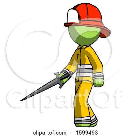 Green Firefighter Fireman Man with Sword Walking Confidently by Leo Blanchette