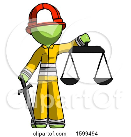 Green Firefighter Fireman Man Justice Concept with Scales and Sword, Justicia Derived by Leo Blanchette