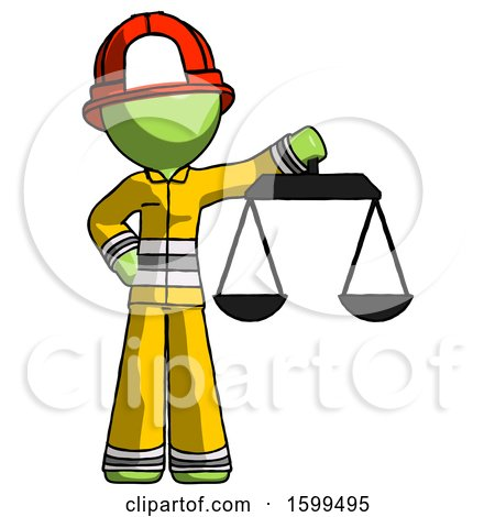 Green Firefighter Fireman Man Holding Scales of Justice by Leo Blanchette