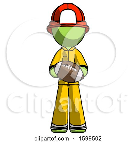 Green Firefighter Fireman Man Giving Football to You by Leo Blanchette