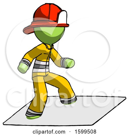 Green Firefighter Fireman Man on Postage Envelope Surfing by Leo Blanchette