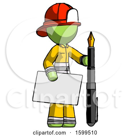 Green Firefighter Fireman Man Holding Large Envelope and Calligraphy Pen by Leo Blanchette