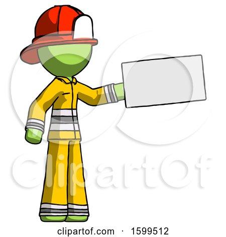 Green Firefighter Fireman Man Holding Large Envelope by Leo Blanchette