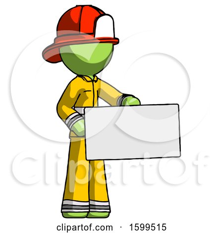 Green Firefighter Fireman Man Presenting Large Envelope by Leo Blanchette