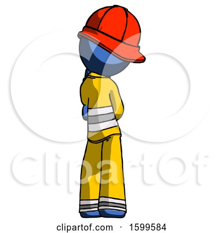 Blue Firefighter Fireman Man Thinking, Wondering, or Pondering Rear View by Leo Blanchette
