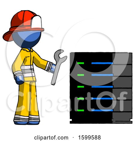 Blue Firefighter Fireman Man Server Administrator Doing Repairs by Leo Blanchette
