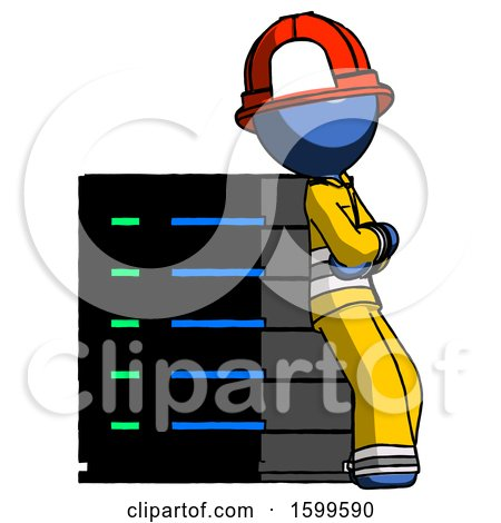 Blue Firefighter Fireman Man Resting Against Server Rack Viewed at Angle by Leo Blanchette
