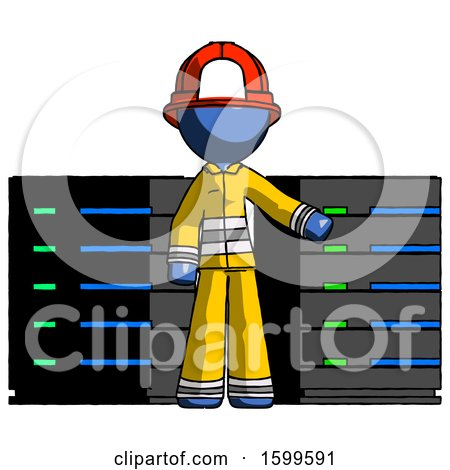 Blue Firefighter Fireman Man with Server Racks, in Front of Two Networked Systems by Leo Blanchette