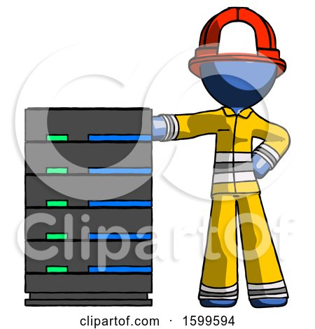 Blue Firefighter Fireman Man with Server Rack Leaning Confidently Against It by Leo Blanchette
