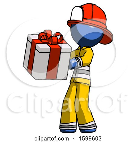 Blue Firefighter Fireman Man Presenting a Present with Large Red Bow on It by Leo Blanchette