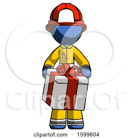 Blue Firefighter Fireman Man Gifting Present with Large Bow Front View by Leo Blanchette