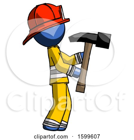 Blue Firefighter Fireman Man Hammering Something on the Right by Leo Blanchette