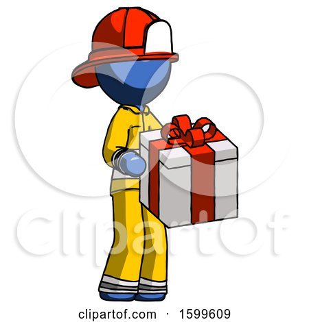 Blue Firefighter Fireman Man Giving a Present by Leo Blanchette