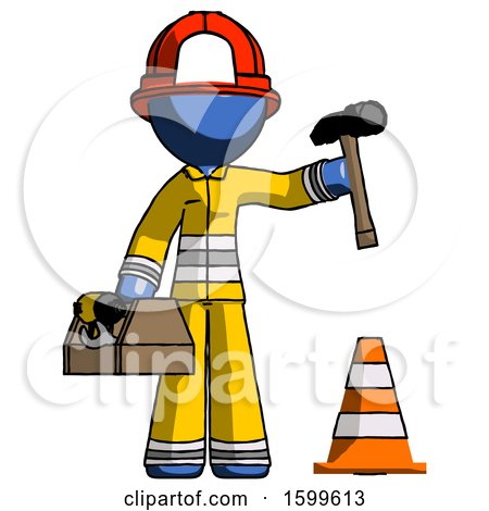 Blue Firefighter Fireman Man Under Construction Concept, Traffic Cone and Tools by Leo Blanchette