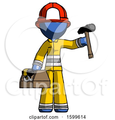 Blue Firefighter Fireman Man Holding Tools and Toolchest Ready to Work by Leo Blanchette