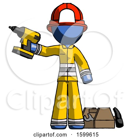 Blue Firefighter Fireman Man Holding Drill Ready to Work, Toolchest and Tools to Right by Leo Blanchette