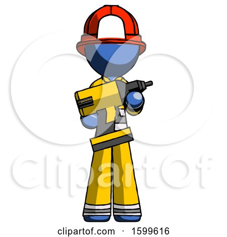 Blue Firefighter Fireman Man Holding Large Drill by Leo Blanchette