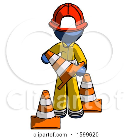 Blue Firefighter Fireman Man Holding a Traffic Cone by Leo Blanchette