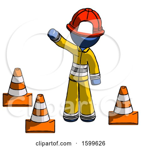 Blue Firefighter Fireman Man Standing by Traffic Cones Waving by Leo Blanchette