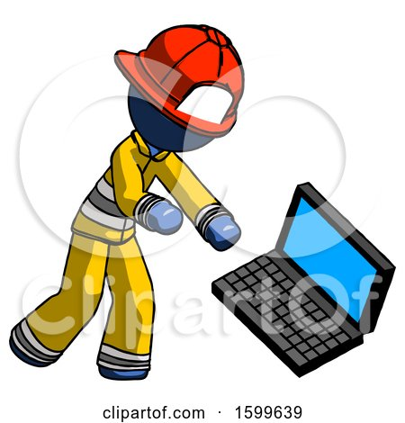 Blue Firefighter Fireman Man Throwing Laptop Computer in Frustration by Leo Blanchette