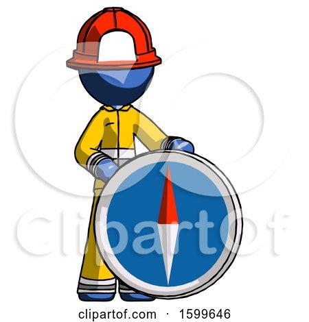 Blue Firefighter Fireman Man Standing Beside Large Compass by Leo Blanchette