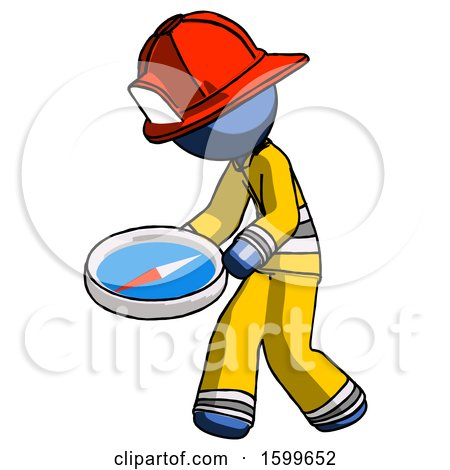 Blue Firefighter Fireman Man Walking with Large Compass by Leo Blanchette