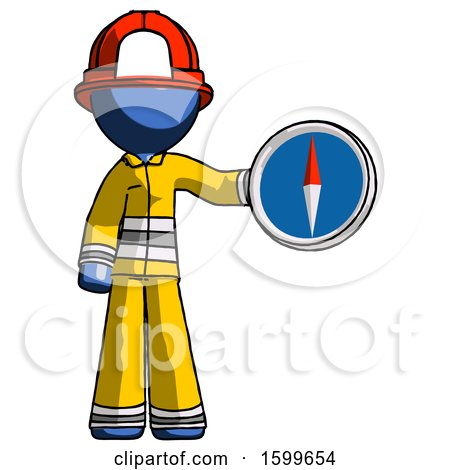 Blue Firefighter Fireman Man Holding a Large Compass by Leo Blanchette