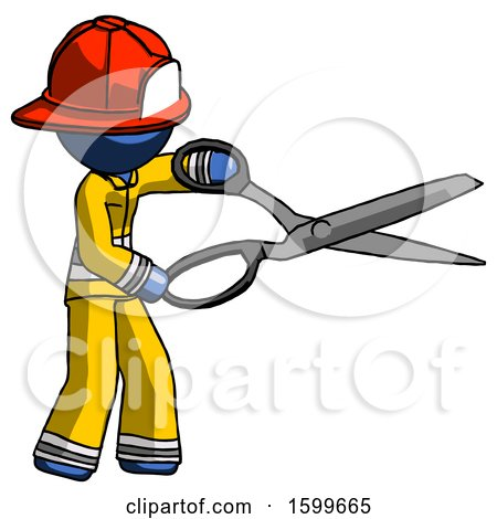 Blue Firefighter Fireman Man Holding Giant Scissors Cutting out Something by Leo Blanchette