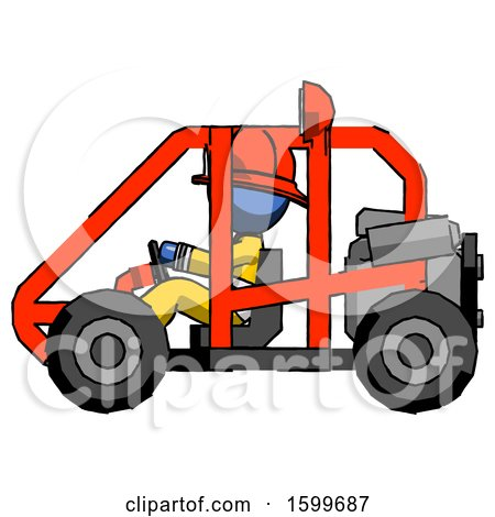 Blue Firefighter Fireman Man Riding Sports Buggy Side View by Leo Blanchette
