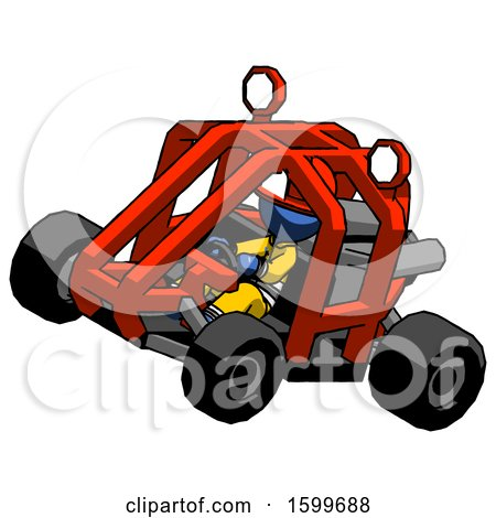 Blue Firefighter Fireman Man Riding Sports Buggy Side Top Angle View by Leo Blanchette