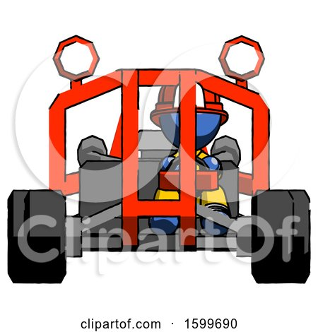 Blue Firefighter Fireman Man Riding Sports Buggy Front View by Leo Blanchette