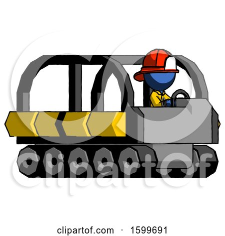Blue Firefighter Fireman Man Driving Amphibious Tracked Vehicle Side Angle View by Leo Blanchette