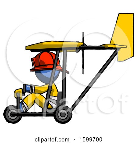 Blue Firefighter Fireman Man in Ultralight Aircraft Side View by Leo Blanchette