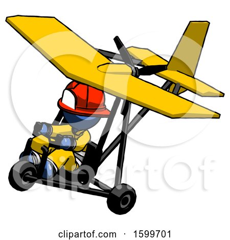 Blue Firefighter Fireman Man in Ultralight Aircraft Top Side View by Leo Blanchette