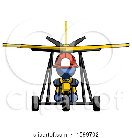 Blue Firefighter Fireman Man in Ultralight Aircraft Front View by Leo Blanchette