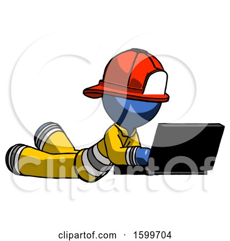 Blue Firefighter Fireman Man Using Laptop Computer While Lying on Floor Side Angled View by Leo Blanchette