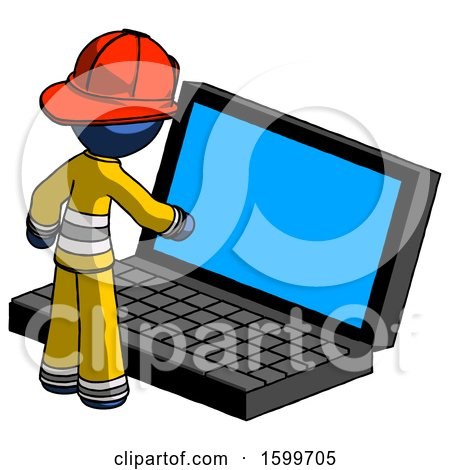 Blue Firefighter Fireman Man Using Large Laptop Computer by Leo Blanchette